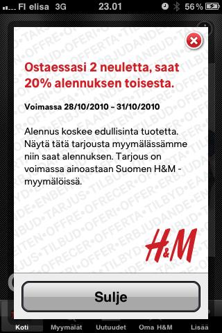 H&M tarjous viimeviikolla